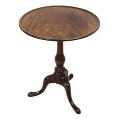 English 18th Century Georgian Chippendale Mahogany Dishtop Tilt Top Tripod Table