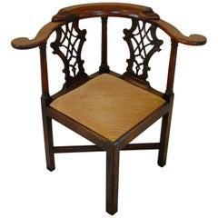 English 18th Century Georgian Period Chippendale Corner Chair in Mahogany