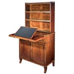 English 18th Century Georgian Regency Small Secretary Chiffonier Bookcase