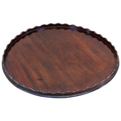 English 18th Century Mahogany Georgian Circular Calling Card Tray