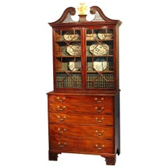 English 18th Century Mahogany Secretaire Cabinet