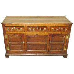 English 18th Century Oak Cupboard Dresser Base