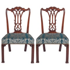 English 18th Century Pair of Chairs in Blue Damask