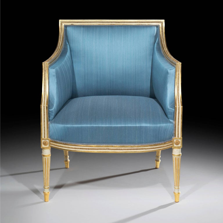 English 18th Century Neoclassical Pair of Cream Painted and Gilt Armchairs For Sale