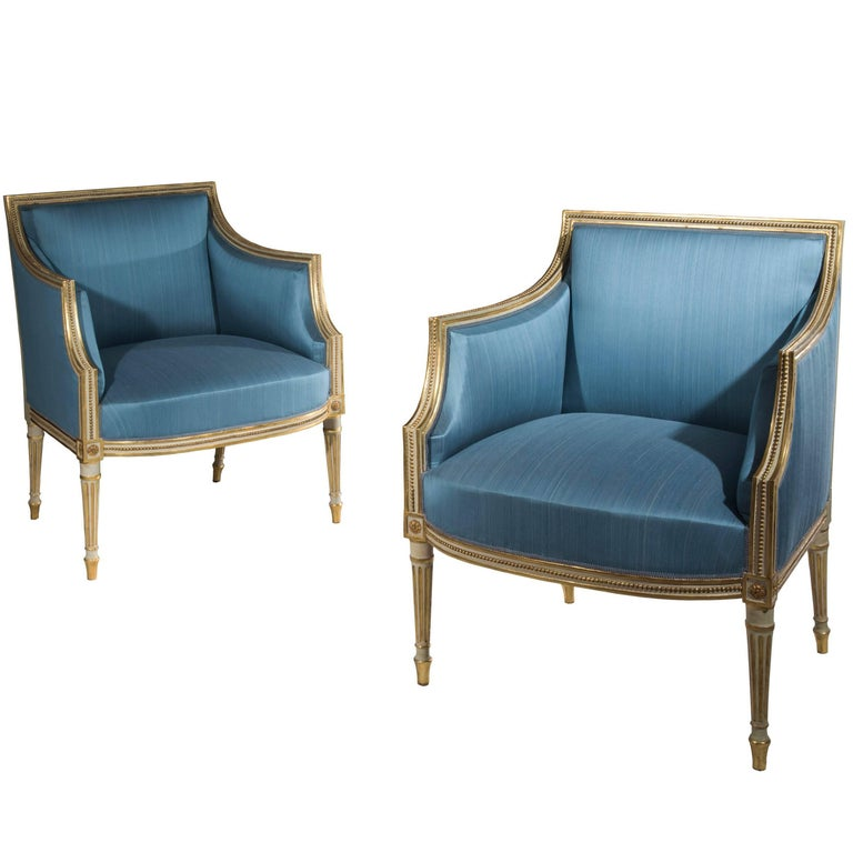 English 18th Century Pair of George III Cream Painted and Parcel-Gilt Armchairs
