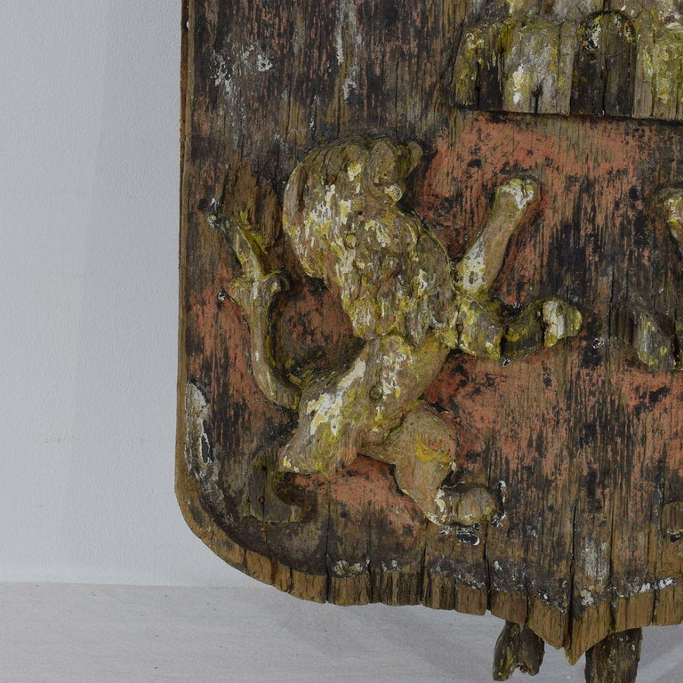 Wood English 18th Century Primitive Oak Coat of Arms with Lions For Sale