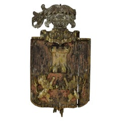 English 18th Century Primitive Oak Coat of Arms with Lions