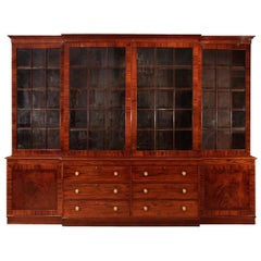 English 18th Century Regency Period Mahogany Breakfront Cabinet