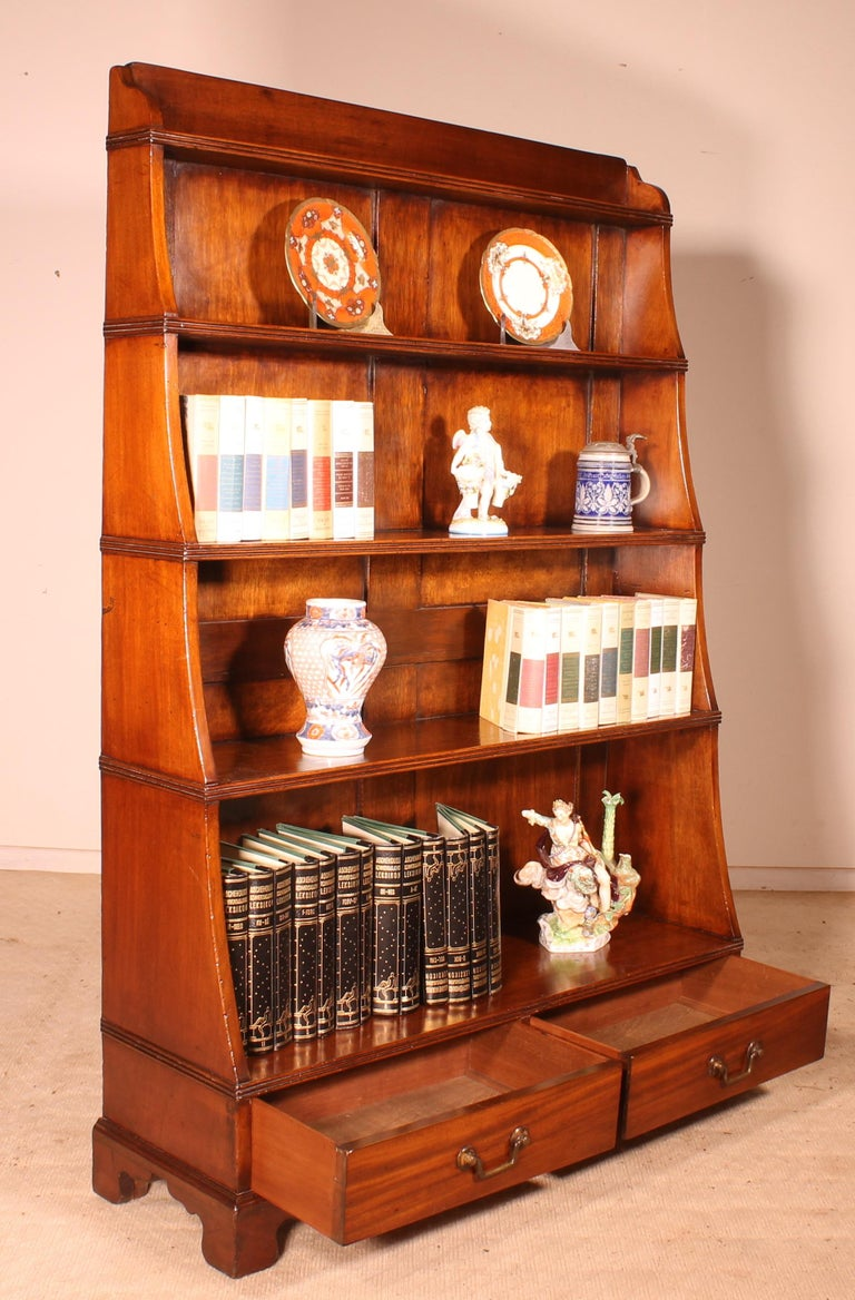 Victorian English 19th Century Waterfall Bookcase in Mahogany For Sale