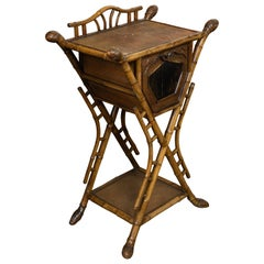 English 1900 Bamboo Side Table with Chinoiserie Decor and Rattan Accents