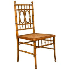 English 1900s Bamboo Side Chair with Cane Seat and Arched Motifs and Ball Feet