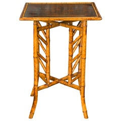 English 1900s Bamboo Side Table with Bird and Floral Decor on Intricate Base