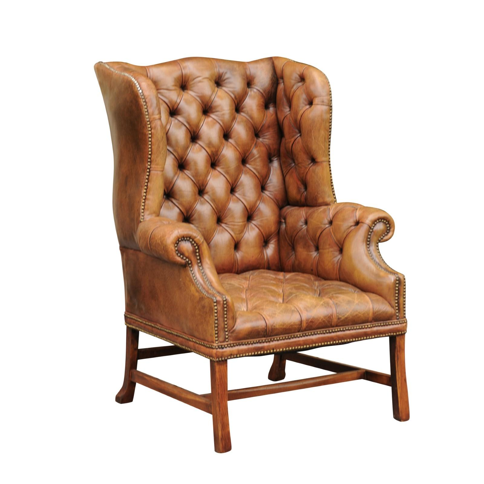 Antiques Vintage Leather Wing Arm Chair Reputation First