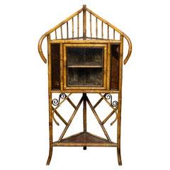 English 1900s Freestanding Bamboo Corner Display Shelf with Glass Door