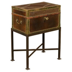 English 1900s Leather Box with Brass Accents Mounted on New Custom Iron Base