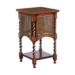 English 1900s Oak Barley Twist Side Table with Cane Sides and Lower Shelf