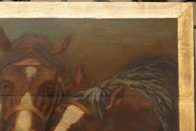 English 1900s Oil on Board Painting Depicting Horses Feeding from a Trough 7
