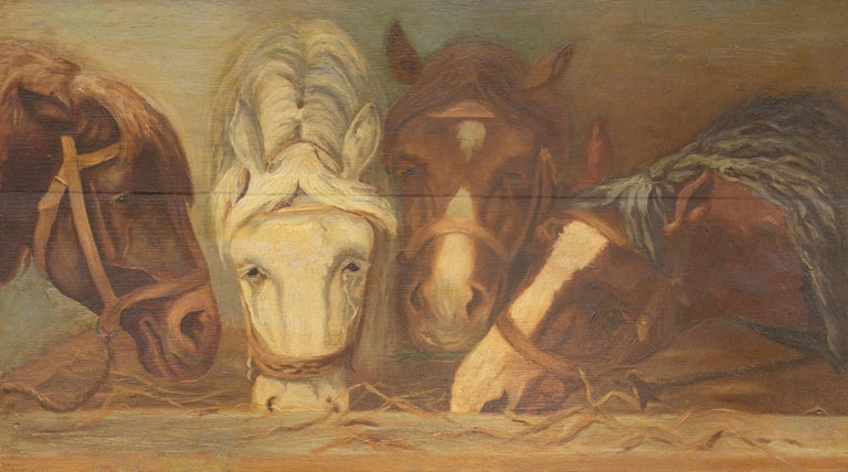 English 1900s Oil on Board Painting Depicting Horses Feeding from a Trough In Good Condition In Atlanta, GA