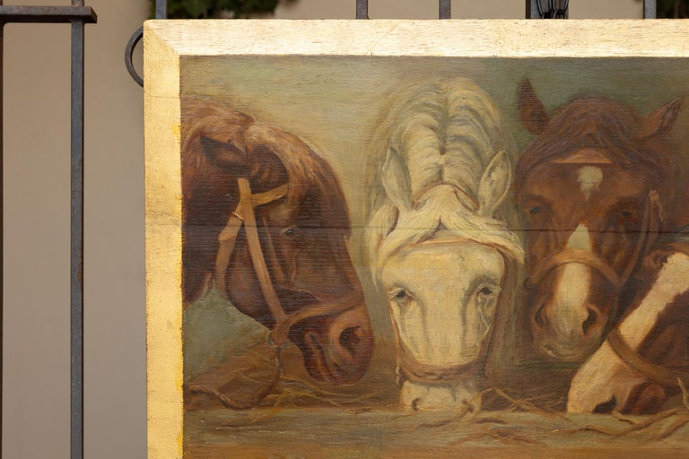 Wood English 1900s Oil on Board Painting Depicting Horses Feeding from a Trough