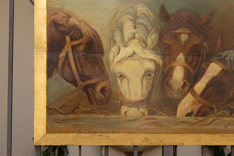 English 1900s Oil on Board Painting Depicting Horses Feeding from a Trough 1