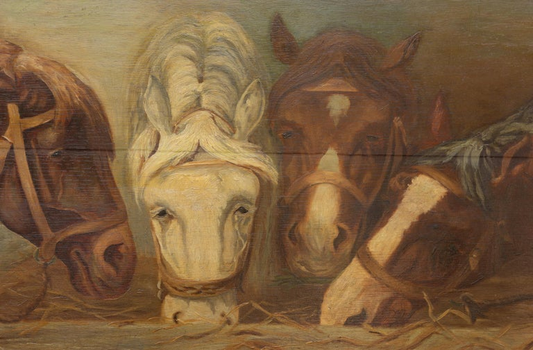 English 1900s Oil on Board Painting Depicting Horses Feeding from a Trough 2