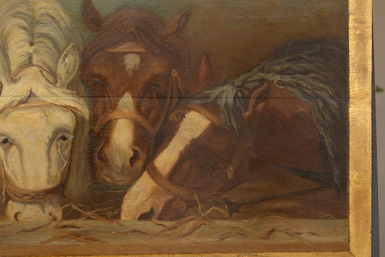 English 1900s Oil on Board Painting Depicting Horses Feeding from a Trough 3
