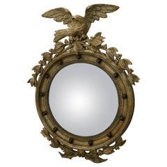 English 1900s Silver Gilt Convex Girandole Bullseye Mirror with Eagle Motif