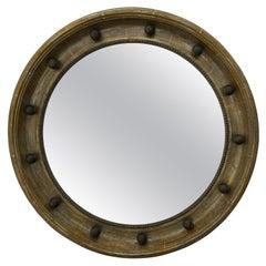 English 1900s Silver Leaf Beaded Convex Bullseye Mirror with Ebonized Accents