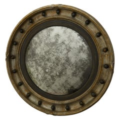 English 1900s Silver Leaf Convex Bullseye Mirror with Ebonized Accents