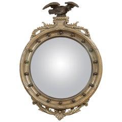 English 1900s Silver Leaf Convex Girandole Bullseye Mirror with Eagle Motif