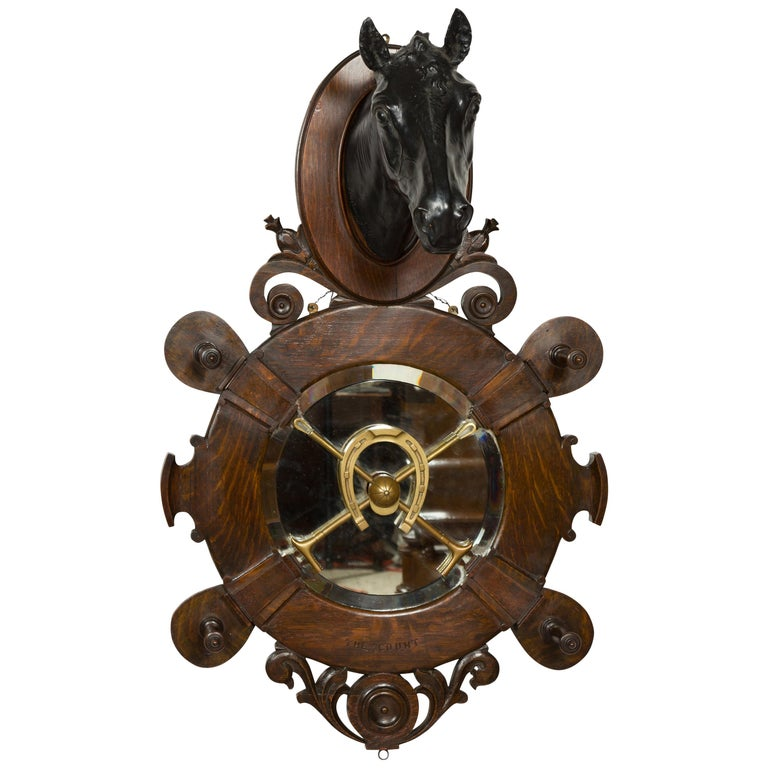 English 1903 Terracotta, Oak and Bronze Wall Hanging Horse Signed J. Priestman For Sale