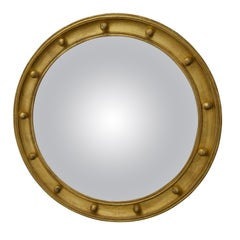 English 1920s-1930s Giltwood Bullseye Convex Girandole Mirror with Small Spheres