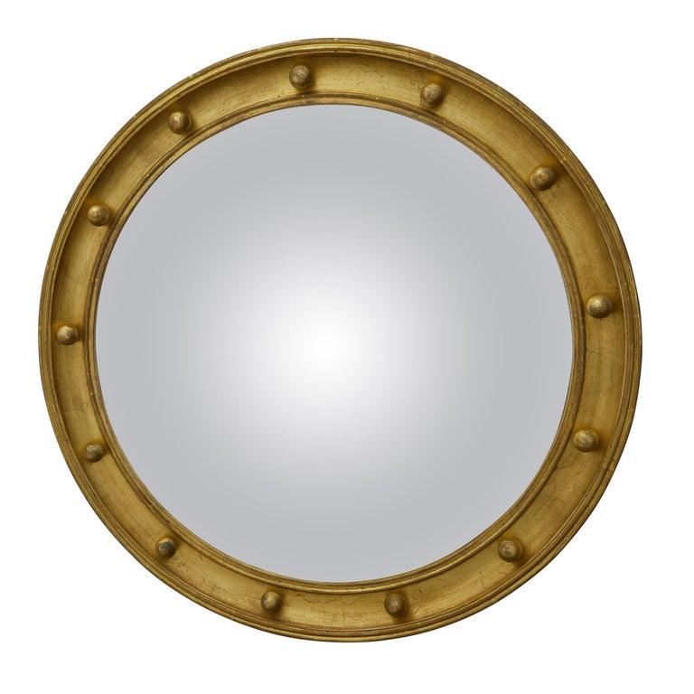 English 1920s-1930s Giltwood Bullseye Convex Girandole Mirror with Small Spheres For Sale