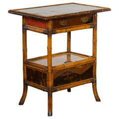 English 1920s Bamboo Table with Lacquered Décor, Single Drawer and Compartment