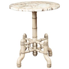 English 1920s Chinese Chippendale Painted Faux Bamboo Marble-Top Side Table