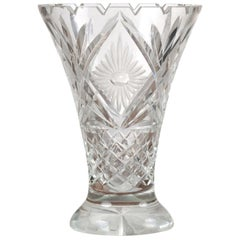 English 1920s Cut Crystal Flaring Vase with Foliage, Floral and Diamond Motifs