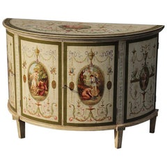 English 1920s Era Adams Paint Decorated Demilune Commode Server Buffet