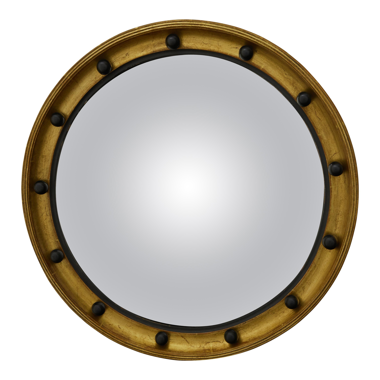 English 1920s Giltwood Convex Bullseye Mirror with Petite Dark Spheres