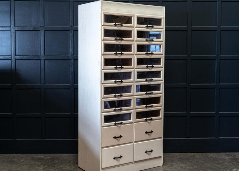 British English 1920s Painted Haberdashery Cabinet with Glass Drawers For Sale