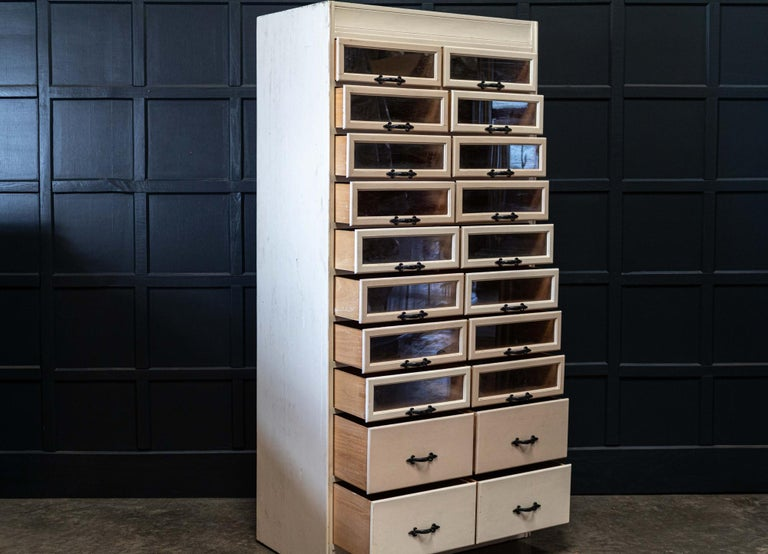 English 1920s Painted Haberdashery Cabinet with Glass Drawers In Good Condition For Sale In Harrogate, GB