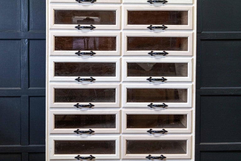 20th Century English 1920s Painted Haberdashery Cabinet with Glass Drawers For Sale