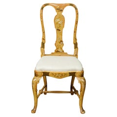 English 1920s Queen Anne Style Side Chair with Painted Birds, Trees and Flowers