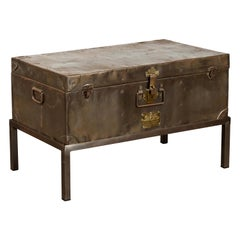English 1920s Sarah Rackett Metal Trunk with Handles Mounted on New Custom Stand