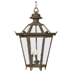 English 1920s Three-Light Wired Bronze Lantern with Palmettes and Glass Panels