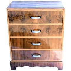 English, 1930s Art Deco Chest of Four Drawers in Figured Walnut