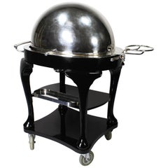 English 1930s Art Deco Ebonized &Silver Plated Beef/Turkey/Lamb Carving Trolley