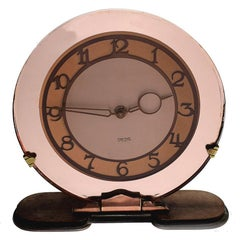 English 1930s Art Deco Peach Mirrored Clock