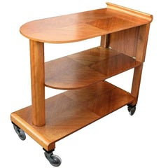 English 1930s Art Deco Walnut Three-Tier Trolley Bar Cart