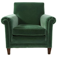 English 1930s Green Mohair Club Chair