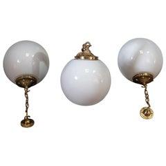 English 1930s Set of Three Opaline Globe Pendants